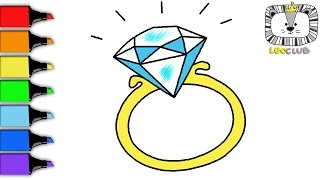 How to Draw Diamond Ring. Learning Coloring Pages for Kids.  LEOCLUB
