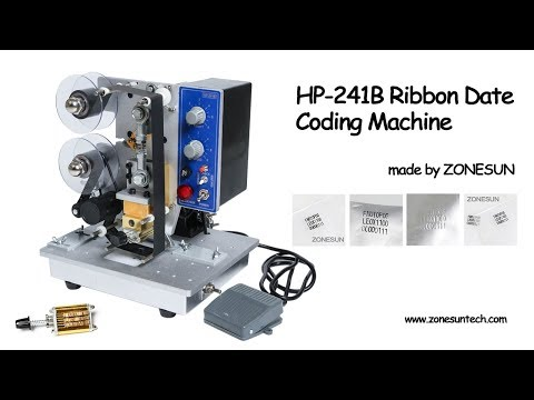 ZONESUN Semi automatic Hot Stamp Coding Printer Machine , HP-241 Ribbon Date Coding Machine