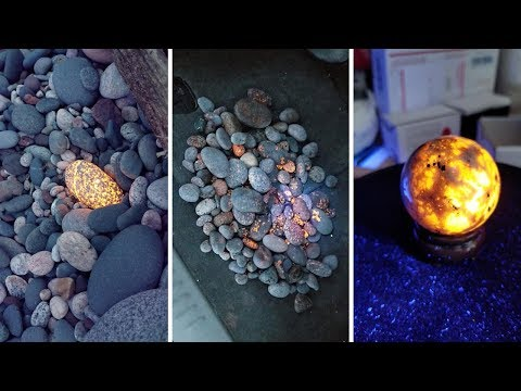 Tour Guides Discovering Beautiful Glowing Mineral Stones