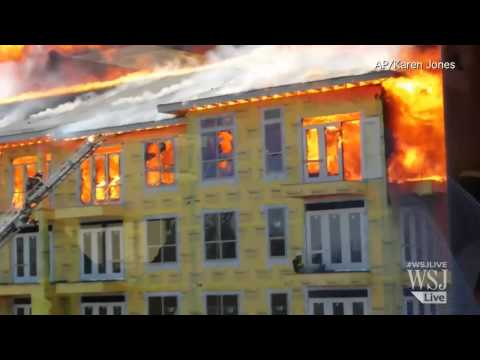 Raw Video: Construction Worker Rescued From Raging Fire
