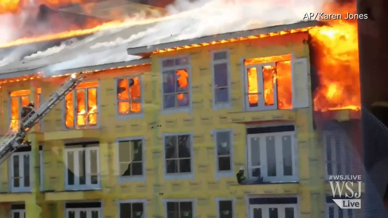 Raw Video Construction Worker Rescued From Raging Fire