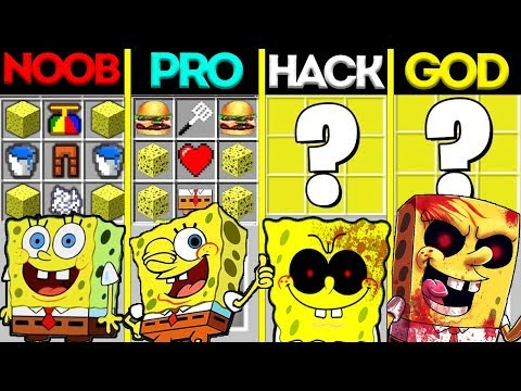 Minecraft Battle: NOOB vs PRO vs HACKER vs GOD: SPONGE BOB EXE CRAFTING CHALLENGE / Animation