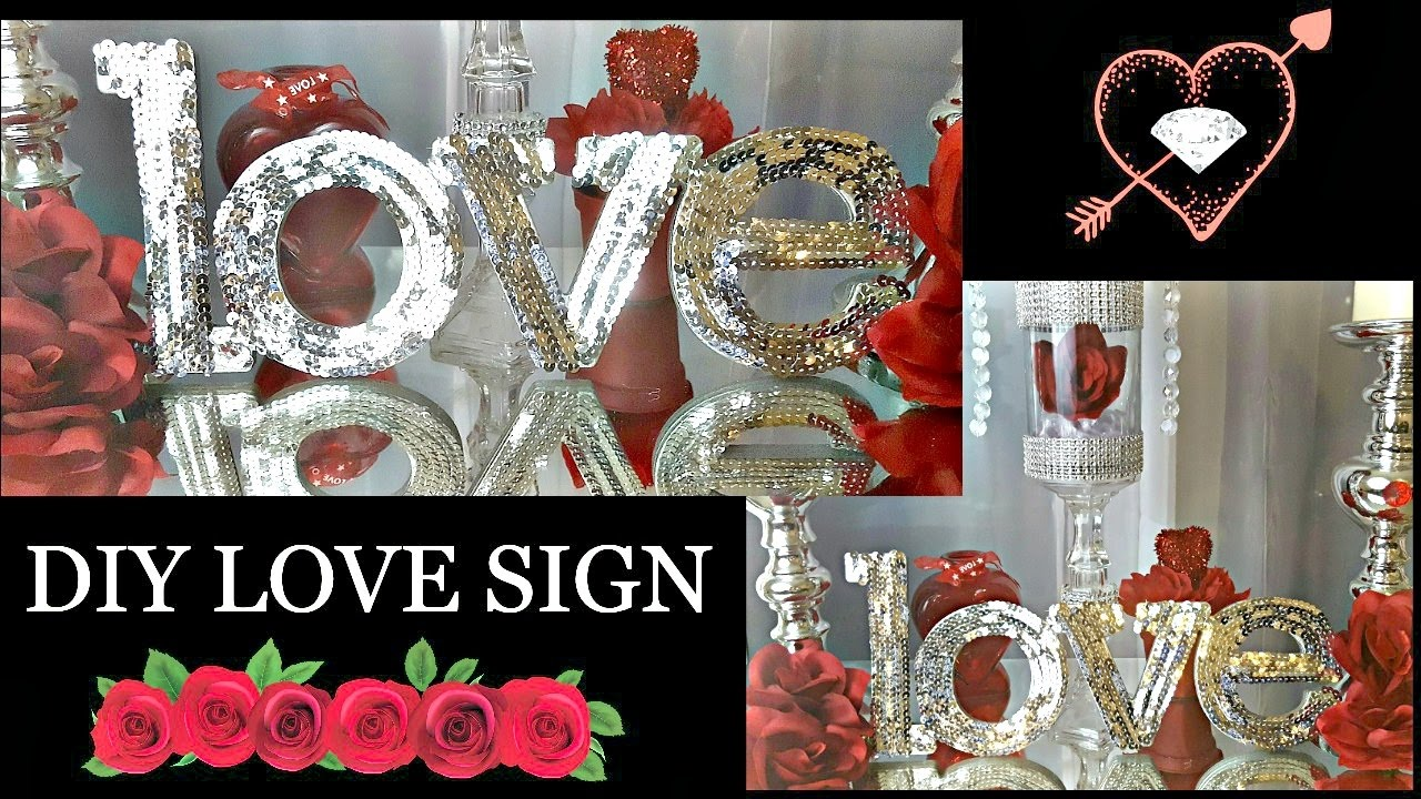 Elegant VALENTINEu0027S DAY ❤ DIY DOLLAR TREE U0026 Hobby Lobby ❤ 2017 GLAM LOVE SIGN CRAFT    YouTube