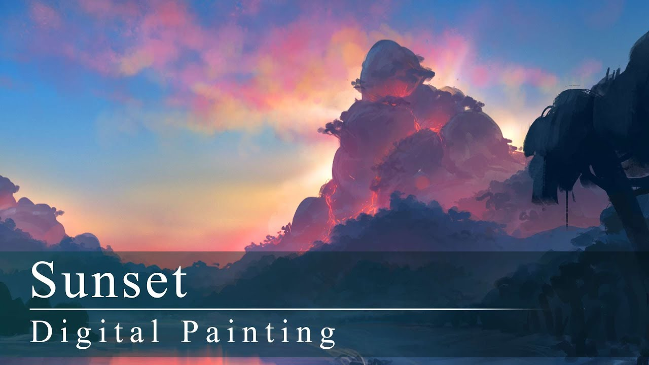 how to draw sunset painting