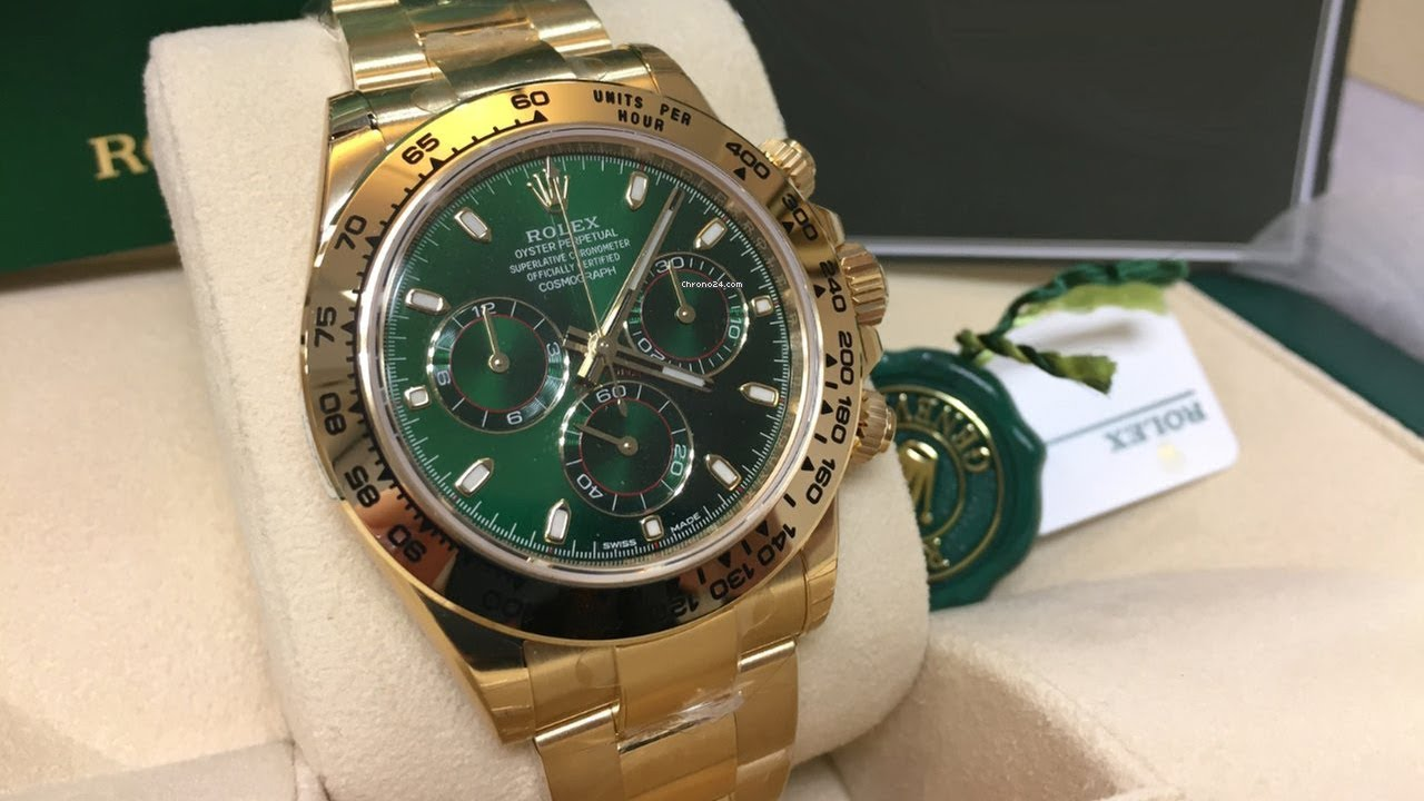 A brand new Rolex Cosmograph Daytona 116508 Green Dial 40 mm yellow gold  swiss luxury watch Unboxing