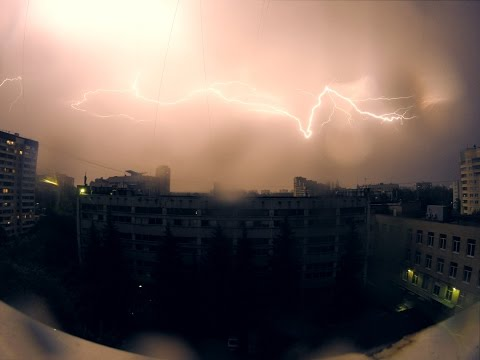 Молния, Гроза, Гром, Дождь в 4K GoPro Timelapse