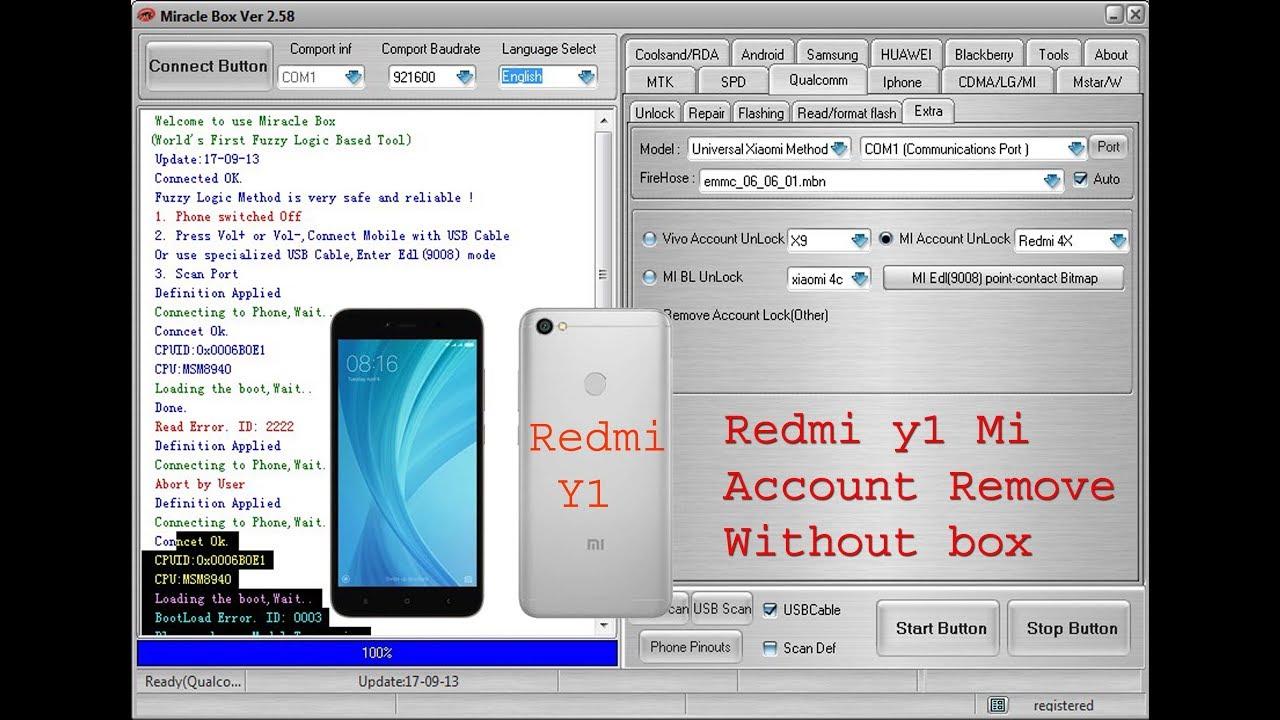 redmi y1 mi account remove miracle box