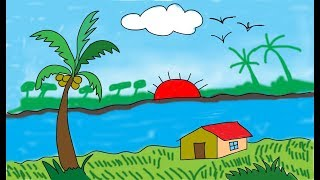 How to drawing scenery | scenery of river | scenery for beginners | learn step by step Drawings