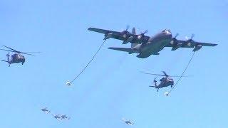 HH60 Blackhawks & KC-130 Hercules Tanker Aerial Refuel With A-10 Wart Hog Air Support