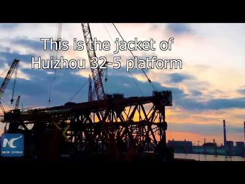 Time-lapse clips of a huge offshore oil platform jacket cons