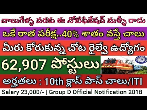 Railway Group D 62,907 posts Recruitment Notification 2018 | RRB Group D | Job search
