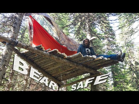 Bear Safe Hammocking in Grizzly Territory Day 21 & 22 of 30 Day Survival Challenge Canadian Rockies