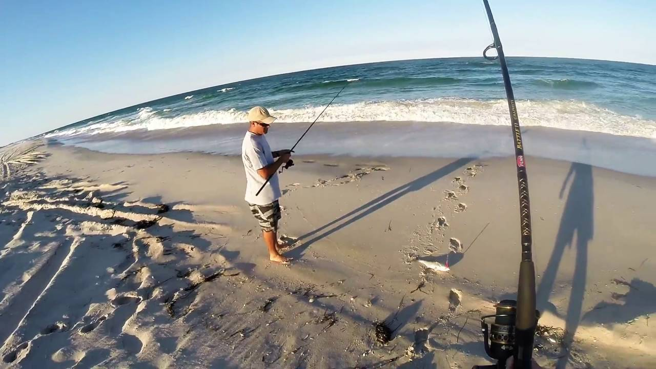 Catching cocktail blues on island beach state park youtube for Ibsp fishing report
