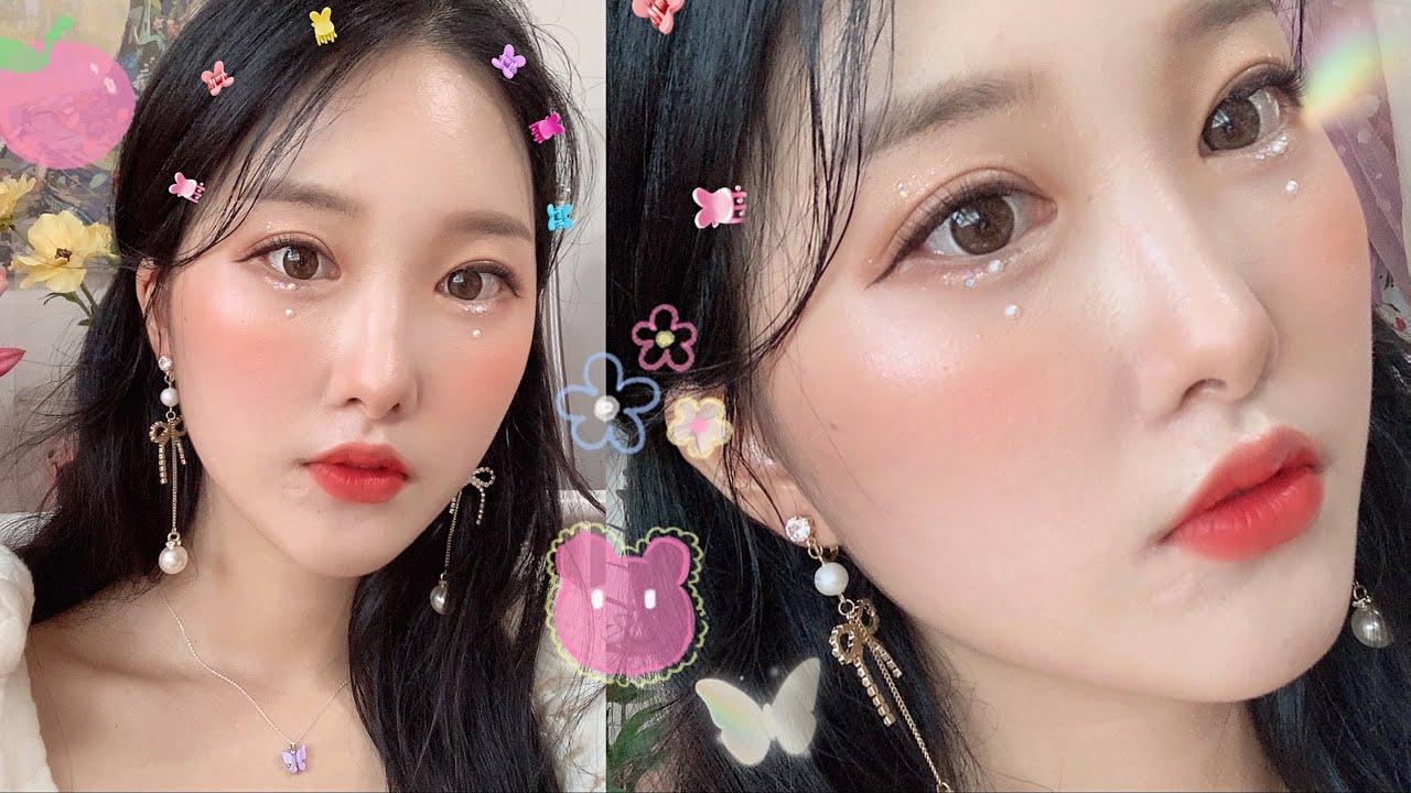 💖아이돌st 진주 글리터메이크업✨🌼웜톤찰떡메이크업🌼 GRWM IDOL makeup tutorial💎