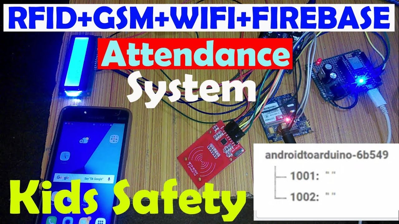Arduino Project: RFID based attendance system with parents sms alert and  firebase database