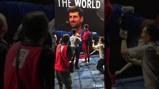Novak Djokovic appeared  at Head booth during Rakuten Japan Open Tennis Championships