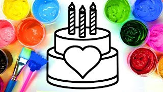 Painting Heart Birthday Cake and Multi Hearts Coloring Pages with Paint thumbnail