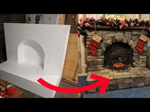 Carving a lifesize fireplace from polystyrene (Styrofoam)
