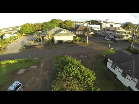 drone flite over down-town lihue, kauai