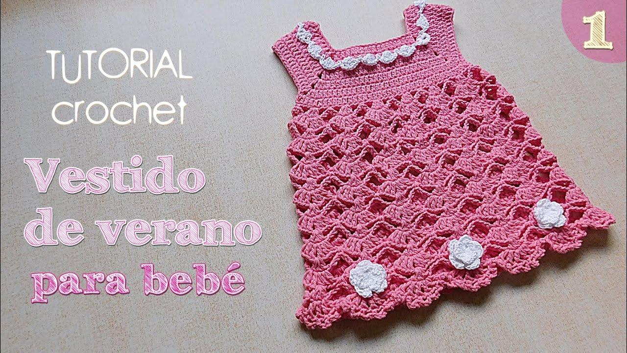 7a6fdb92b Como tejer vestido a crochet para bebe (1/2) - YouTube