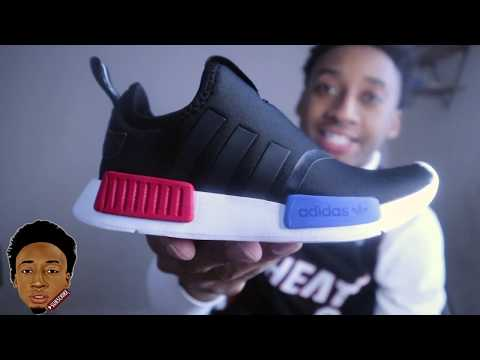 BOYS' LITTLE KIDS' ADIDAS ORIGINALS NMD 360 CASUAL SHOES UNOXING (RED/BLUE/WHITE/BLACK)