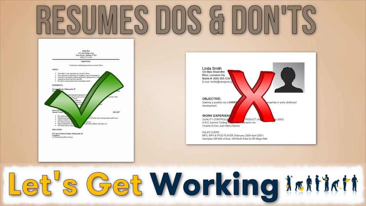 resume writing dos don ts youtube