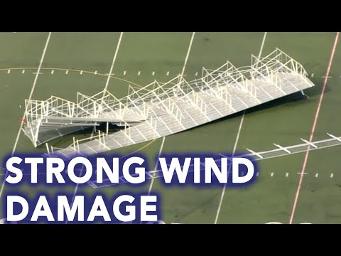 Strong winds cause damage at Father Judge High School