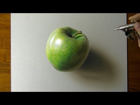 Drawing a Green Apple - How to draw 3D art