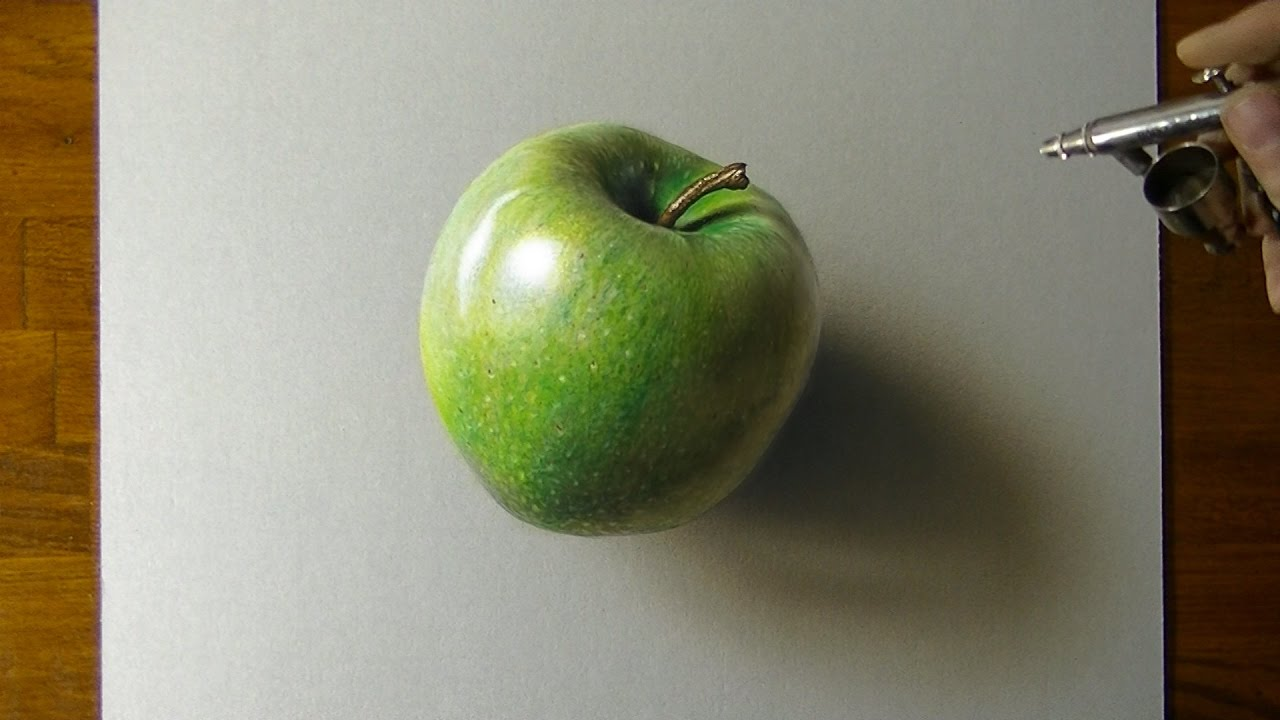 Drawing A Green Apple How To Draw 3d Art