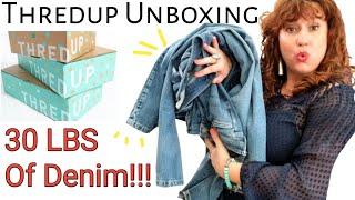 Thredup Rescue Box Unboxing 2020 ~ HONEST REVIEW ~ 30 LBS DIY Denim ~ Mystery Box ~