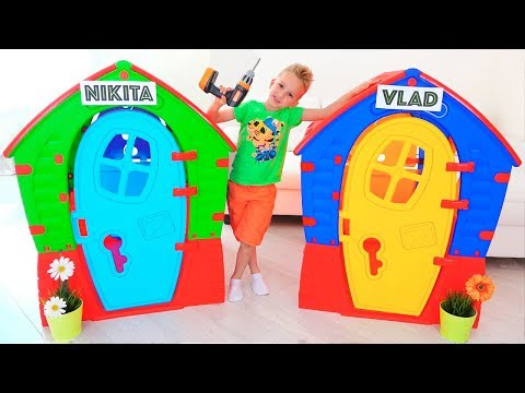 Nikita Pretend Play with Balls | Kids ride on toy cars and play with Mom