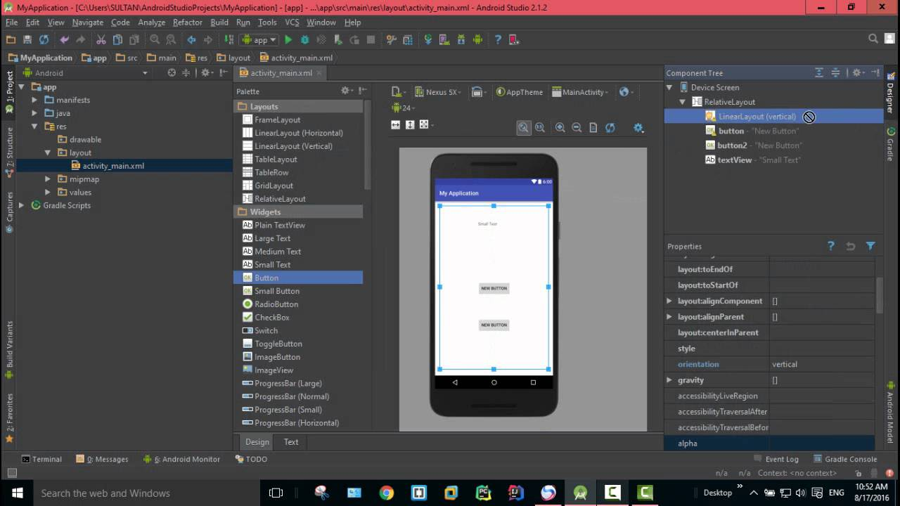 Designer And Component Tree In Android Studio Youtube