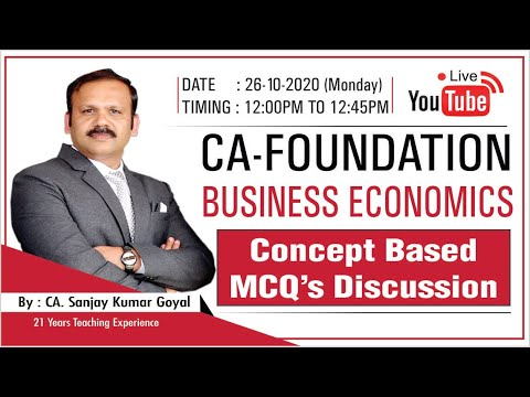 CA-Found. : Economics - Concept Based MCQ's Discussion