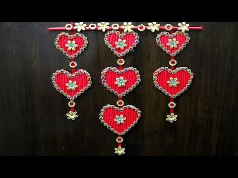 paper-heart-wall-hanging-crafts---paper-craft-ideas-for-decoration-step-by-step---heart-paper-craft