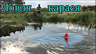 Ловля КАРАСЯ В ЖАРУ на ПОПЛАВОК Карась в деревенском пруду Карась на маховую удочку Карась летом