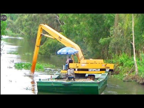 CÔNG NGHỆ ĐỘ XE CUỐC 03 THÀNH E200B CẦN 19M /excavator land on the river