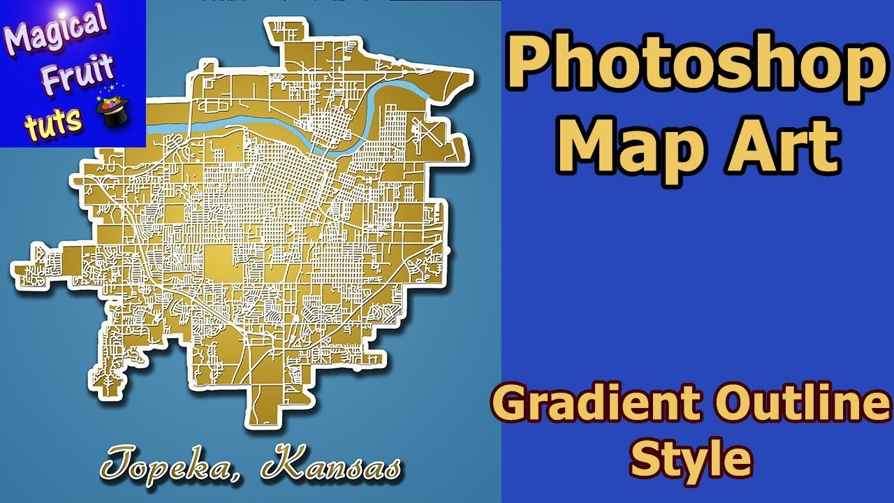Photoshop Map Art Topeka KS Outlined Gradient Style YouTube