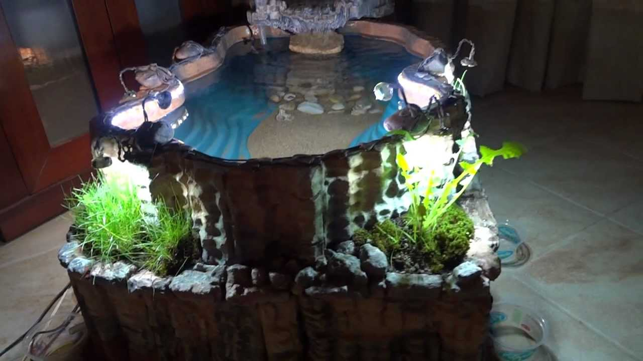 Diy indoor pond with waterfall youtube for Indoor fish pond ideas