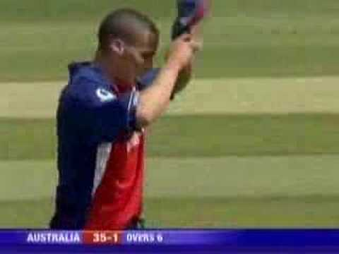 Matthew Hayden gets hit by Simon Jones