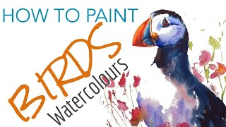 How to paint a WATERCOLOUR BIRD -  Puffin Painting - Simple watercolour tutorial