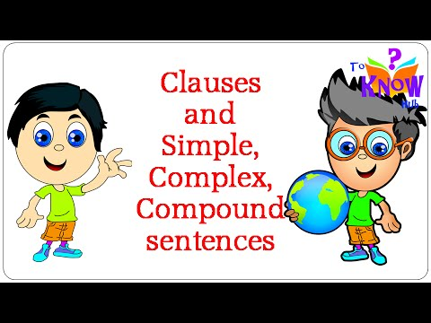 simple clause Simple: one independent clause with a subject and a verb (predicate) compound: two independent clauses joined by a coordinator such as for, and, but, etc complex: one independent clause with one or more dependent clauses a dependent clause could be (1) a noun clause one example is a clause.