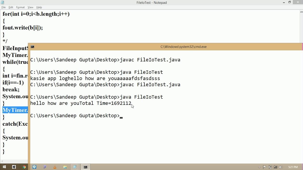 Java I/O Tutorial # 3 | Byte Array Input/Output Stream | System NanoTime |  JOptionPane