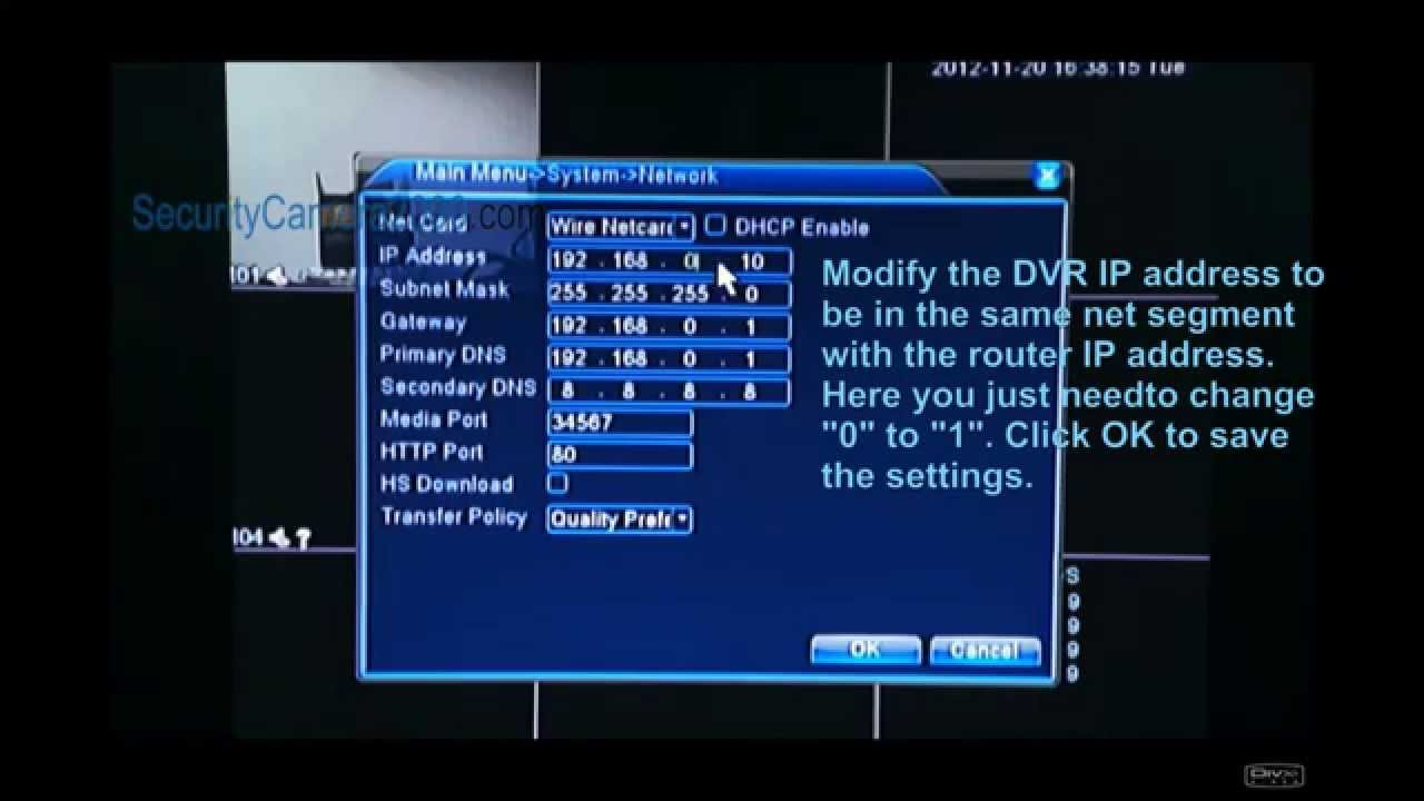 how to set the ip address for dvr recorders youtube. Black Bedroom Furniture Sets. Home Design Ideas