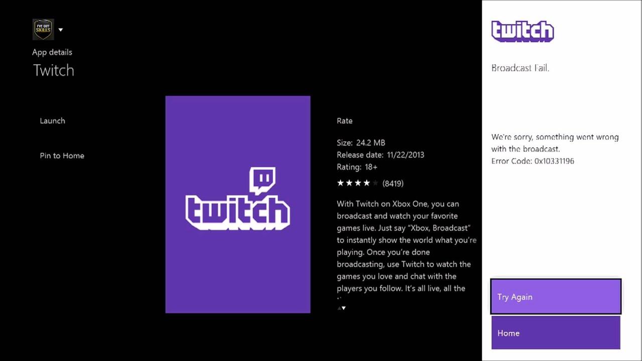 Help! Eroor Code 0x10331196 On Twitch Xbox 1 - YouTube
