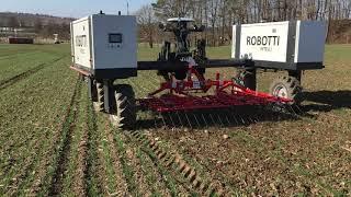 Robotické vláčení ozimé pšenice prutovými branami (30. 3. 2021)
