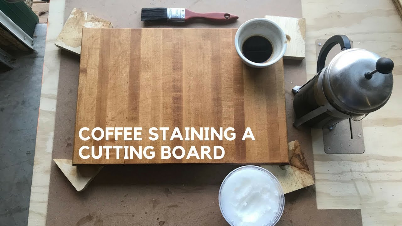 Finishing a cutting board with coffee and coconut oil