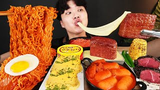 ENG SUB) ASMR MUKBANG MUSHROOM FIRE Noodle & Tteokbokki & CHEESE SPAM & STEAK EATING SOUND !