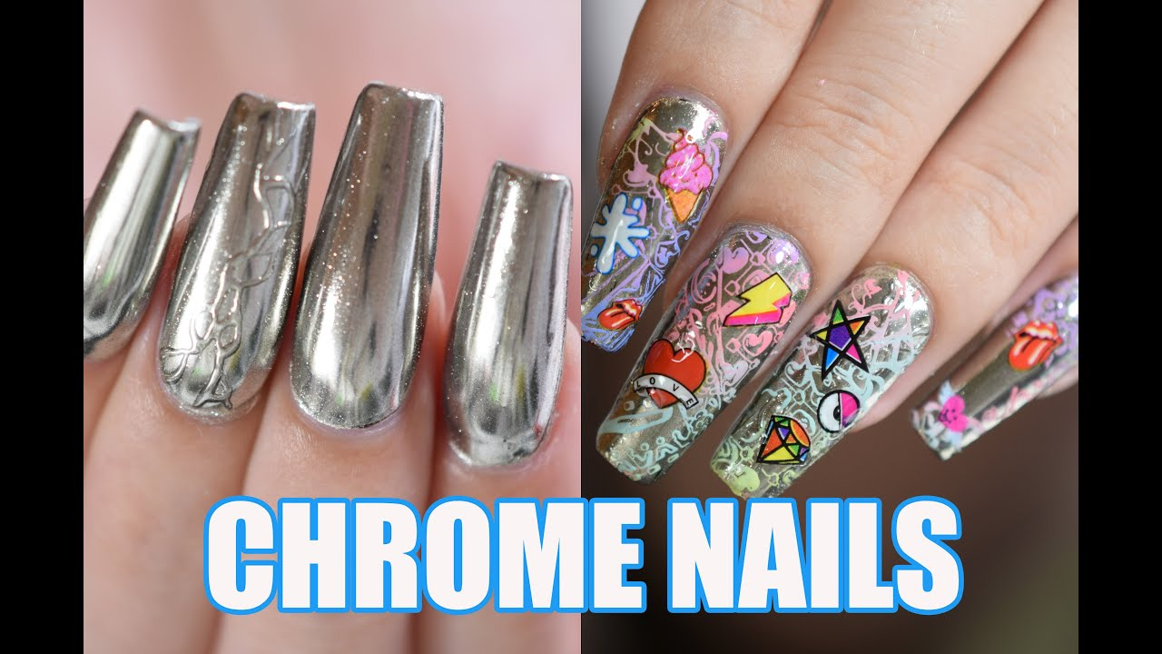 CHROME NAILS WITH MIRROR PIGMENT RED IGUANA APRIL RYAN