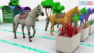 Мультик для детей про цветных лошадей! Изучаем краски. Learn Colors with Horse and Grass for Kids