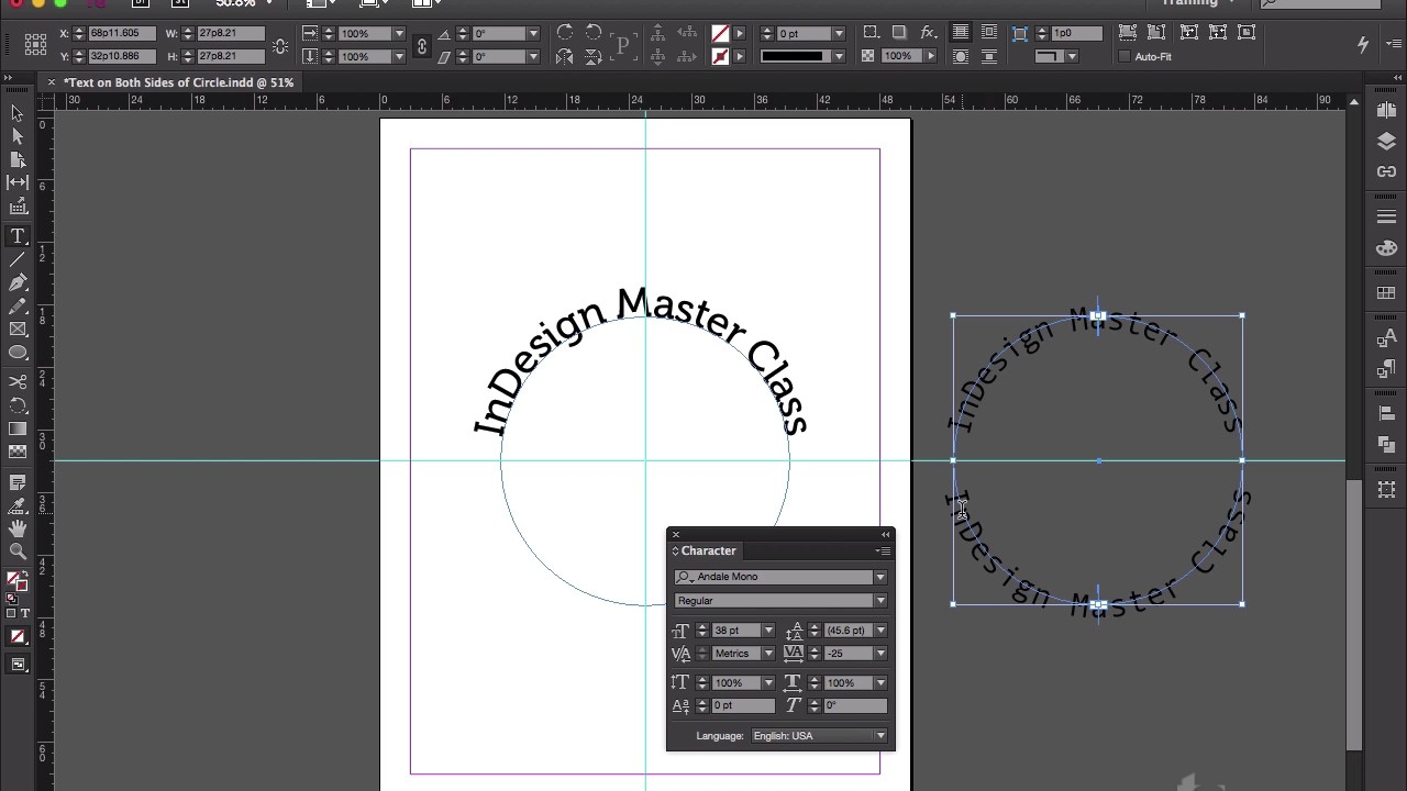 how to curve text in indesign